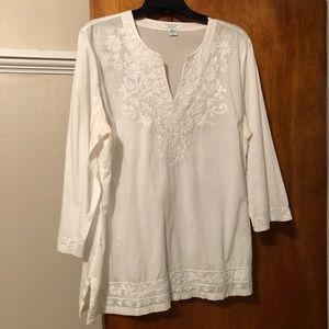 Charter Club XL white cotton blouse
